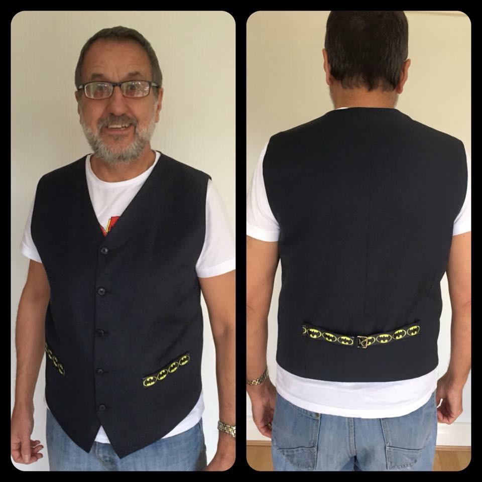 Dad's Upcycled Batman Waistcoat