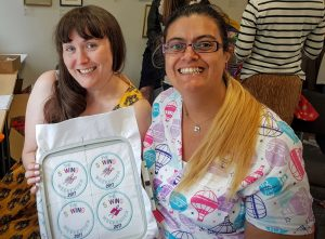 Ellie and myself with our machine embroidery